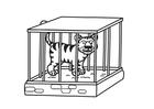 Disegno da colorare tigre in gabbia