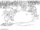 Disegno da colorare tirare le palle di neve