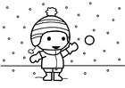 Disegno da colorare Tirare palle di neve