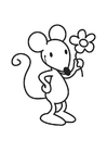 Disegno da colorare topo con fiore
