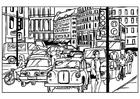 Disegno da colorare traffico in città