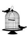 Disegno da colorare uccello fuori dalla gabbia