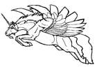 Disegno da colorare unicorno volante
