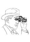 Disegno da colorare uomo con binocolo