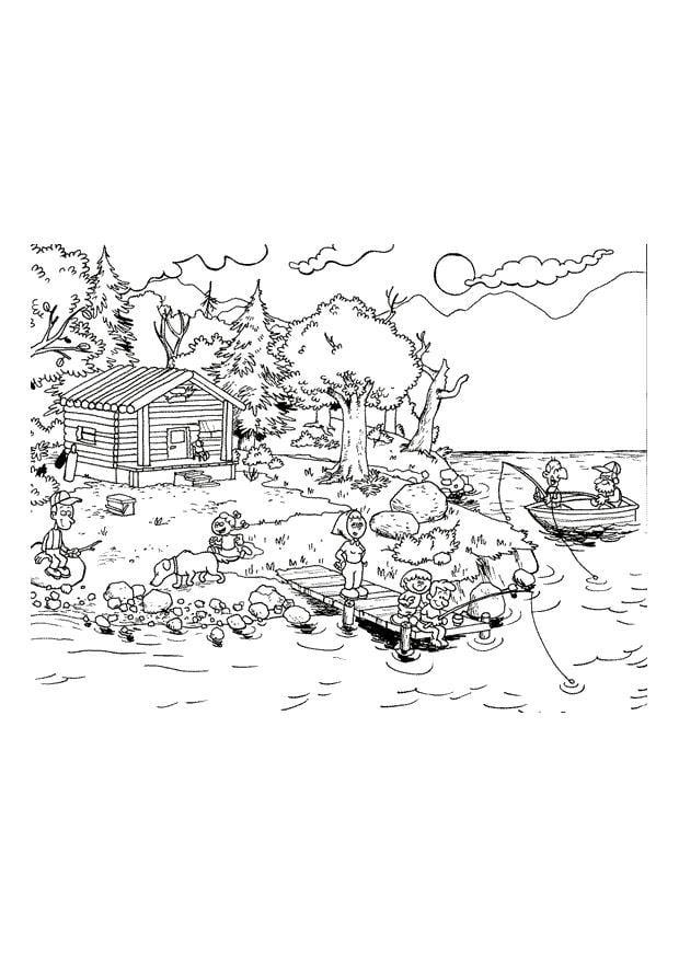 Disegno da colorare vacanza sul lago disegni da colorare for Lago disegno