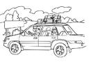 Disegno da colorare vacanze in auto