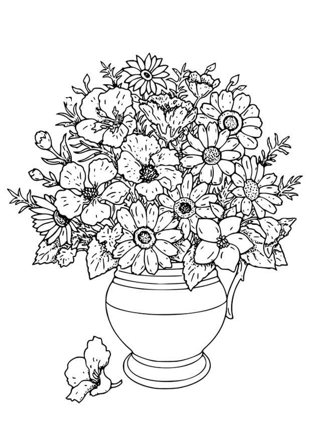Disegno da colorare vaso con fiori cat 18649 for Disegno vaso da colorare