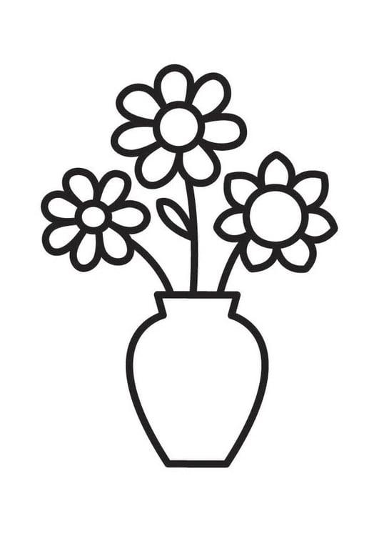 Disegno da colorare vaso con fiori - Cat. 18334.