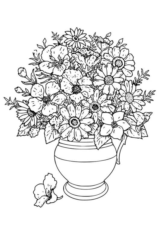 Disegno Da Colorare Vaso Con Fiori Cat 18649