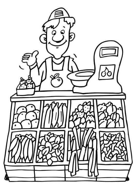 Disegno da colorare venditore di verdure cat 6501 - Colorare le pagine di verdure ...