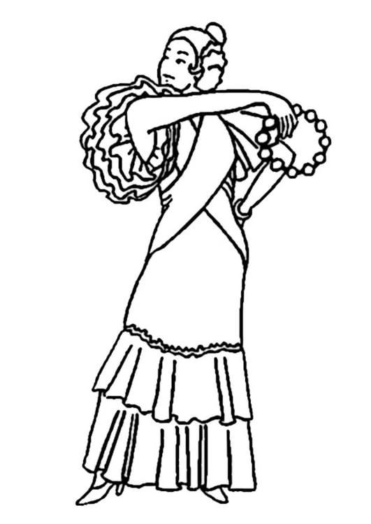 Disegno Da Colorare Vestito Da Flamenco Cat 19006