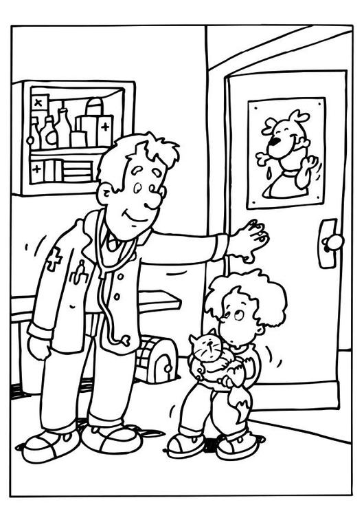 Disegno da colorare veterinario cat 6490 - Disegno finestra da colorare ...