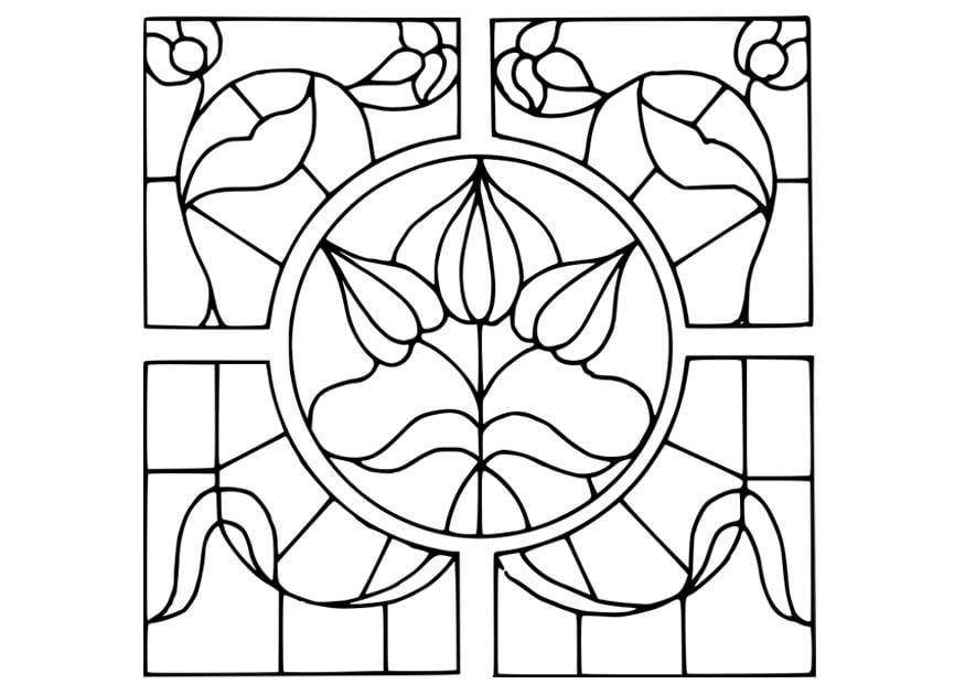 Disegni Di Rose Da Colorare Designzip Info: Disegno Da Colorare Vetro Con Fiori Disegnati