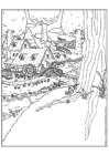 Disegno da colorare villaggio dei nani