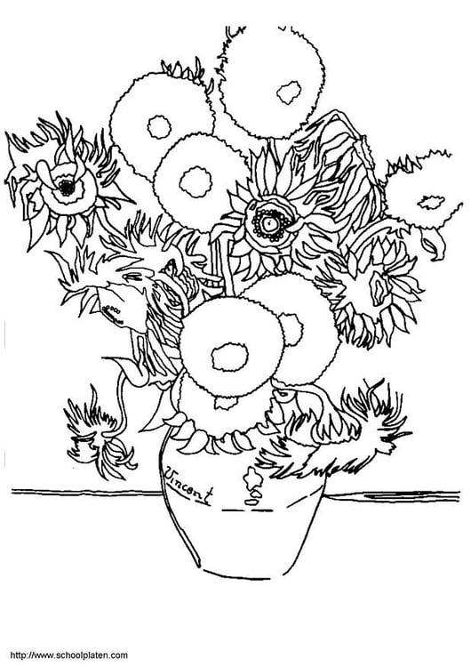 Disegno Da Colorare Vincent Van Gogh I Girasoli Cat