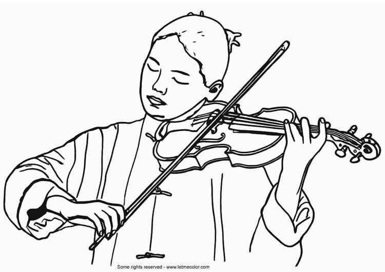 Disegno Da Colorare Violinista Cat 9789
