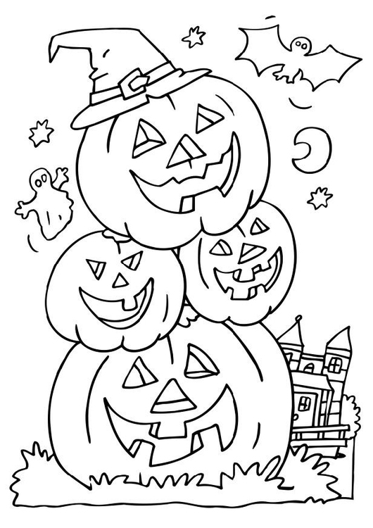 Disegno da colorare zucche di halloween cat 6503 - Halloween immagini da colorare ...