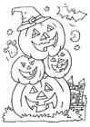 Disegno da colorare zucche di Halloween