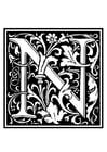 Disegno da colorare alfabeto decorativo - N