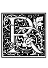 Disegno da colorare alfabeto decorativo - R