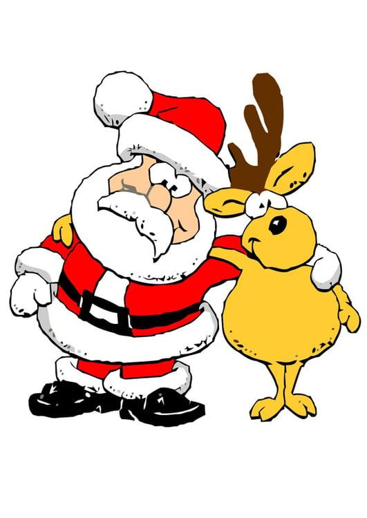 Babbo Natale Con Le Renne.Immagine Illustrazione Babbo Natale Con Renna Immagini Per Uso