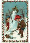 immagine bambini che fanno un pupazzo di neve