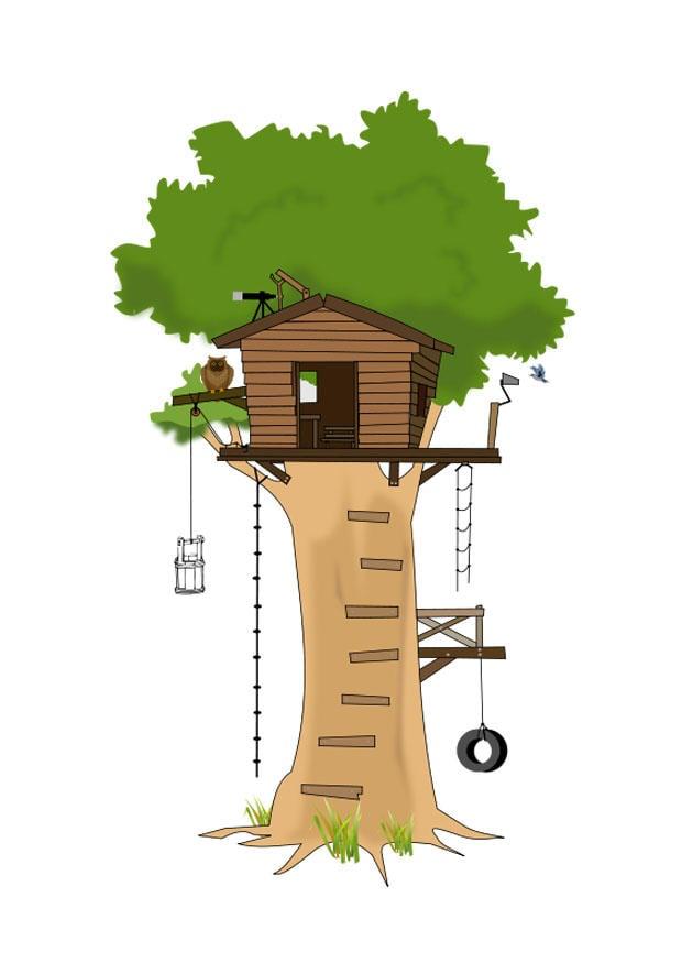 Immagine illustrazione casa sull 39 albero immagini per for Scarica clipart