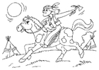 Disegno da colorare indiano a cavallo