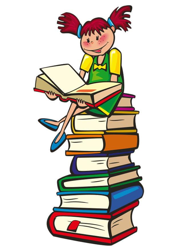 Immagine illustrazione leggere su una pila di libri for Scarica clipart