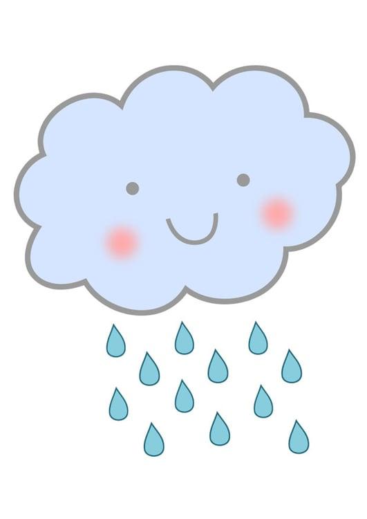 Immagine illustrazione pioggia nuvola immagini per uso for Sole disegno da colorare