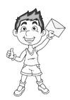 Disegno da colorare ragazzo con lettera