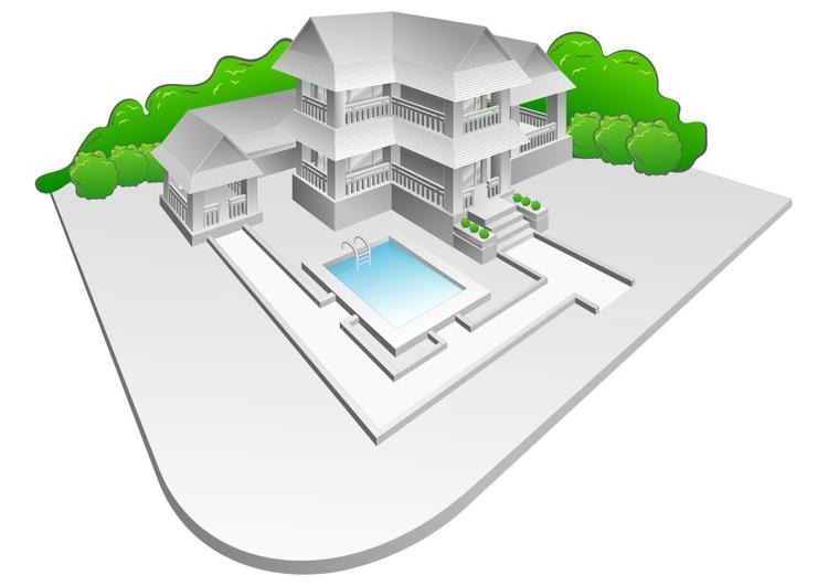 immagine villa con piscina disegni da stare gratis